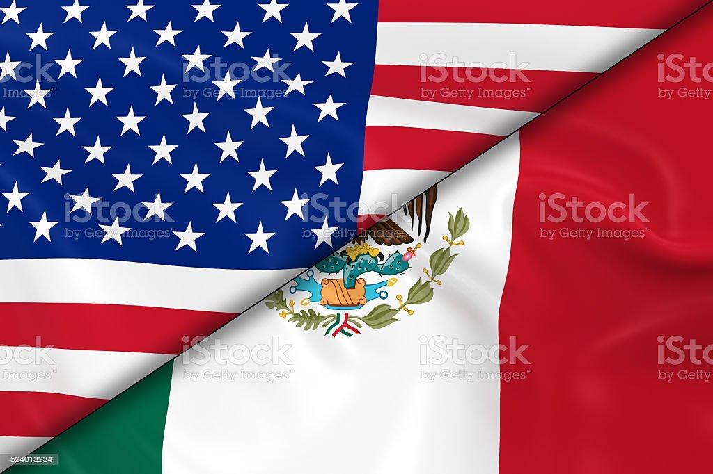 Banderas de los Estados Unidos de América y México dividido - foto de stock