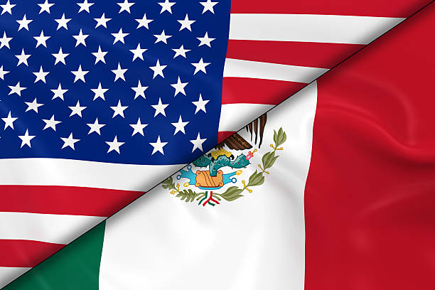Flags of the United States of America and Mexico Divided stock photo