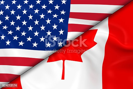 istock Flags of the USA and Canada Divided Diagonally 524013174