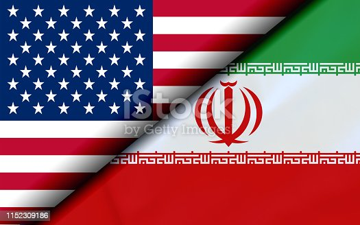 istock Flags of the USA and Iran Divided Diagonally 1152309186