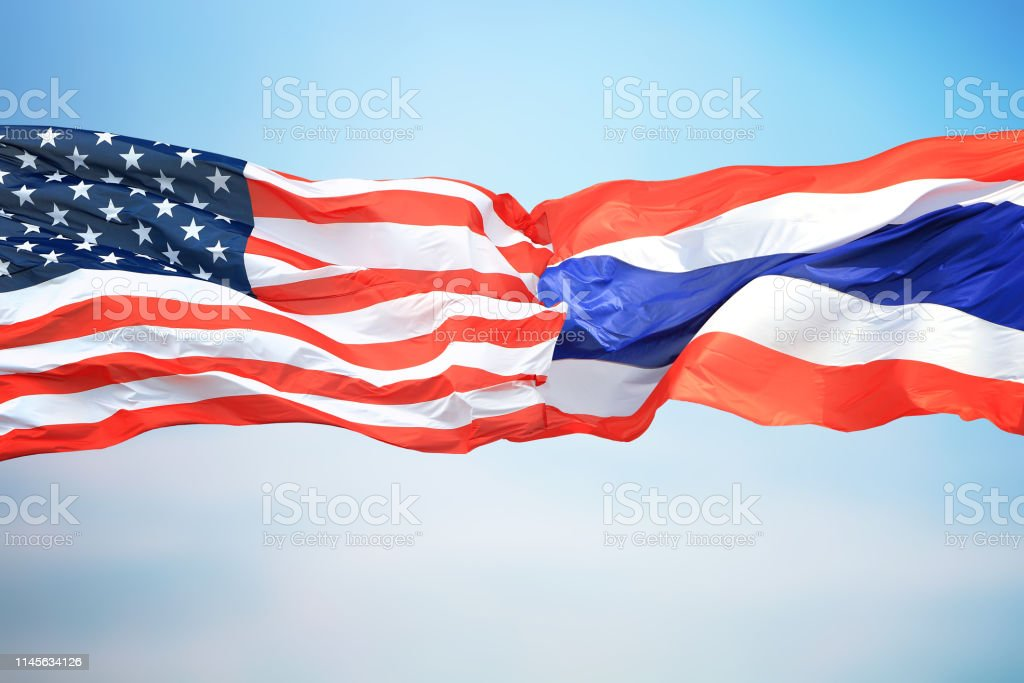 Flags of the USA and Thailand stock photo