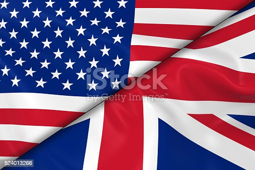 istock Flags of the USA and the UK Divided Diagonally 524013266