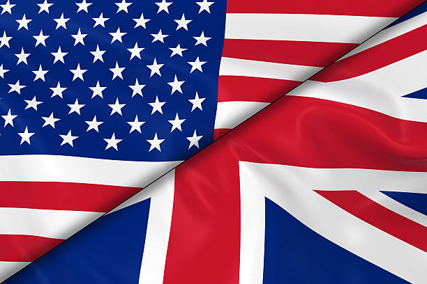flags of the usa and the uk divided diagonally - britse cultuur stockfoto's en -beelden