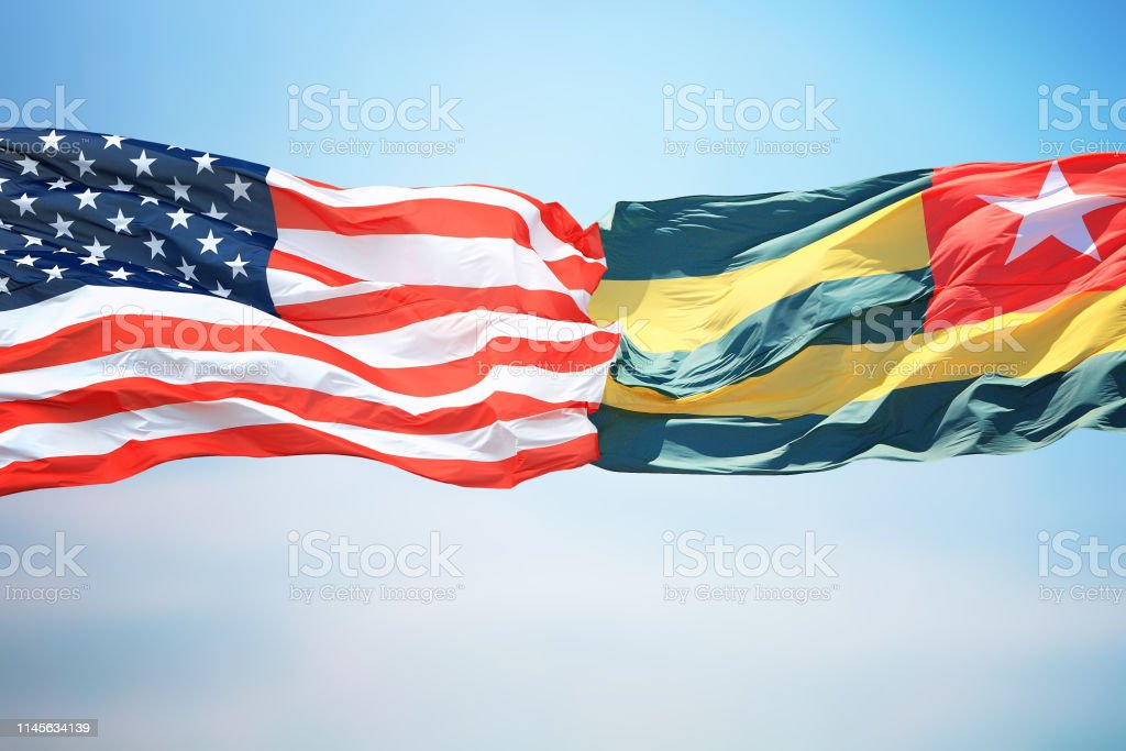 Flags of the USA and Togo stock photo