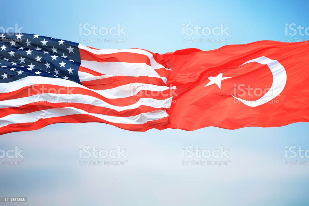 Flags of the USA and Turkey stock photo