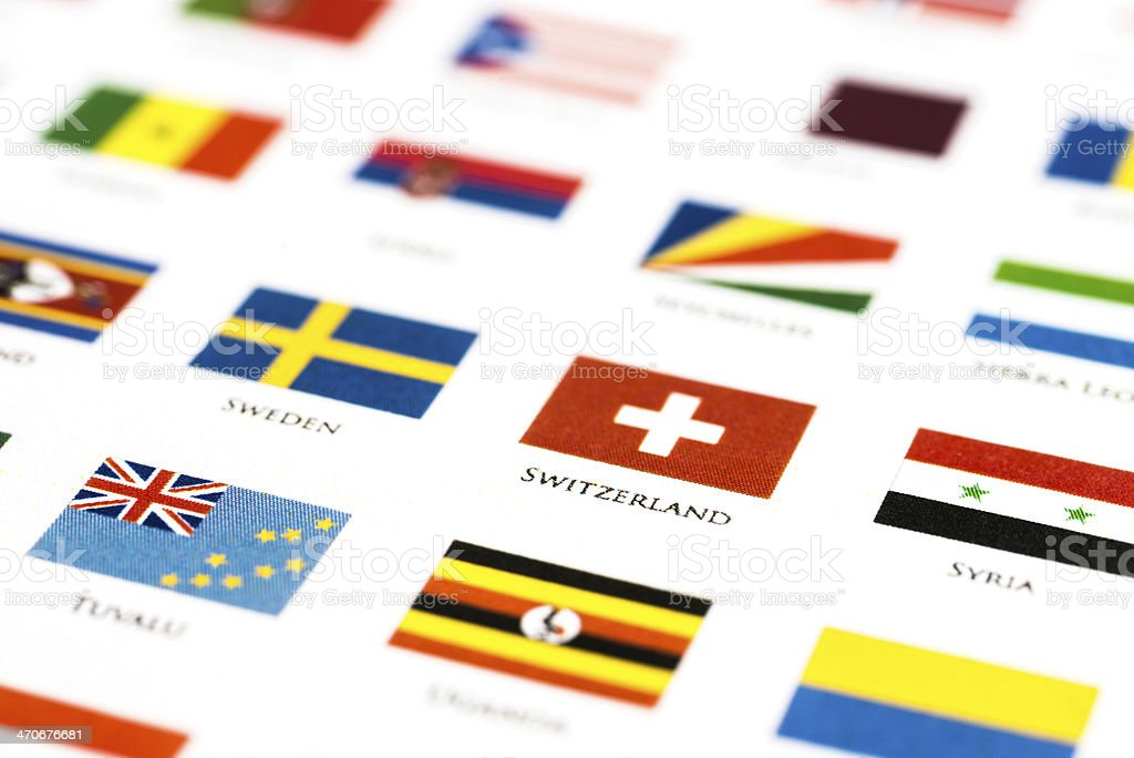 flags of the world – Switzerland and his alphabetical neighbor royalty-free stock photo