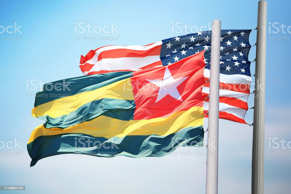 Flags of Togo and the USA stock photo