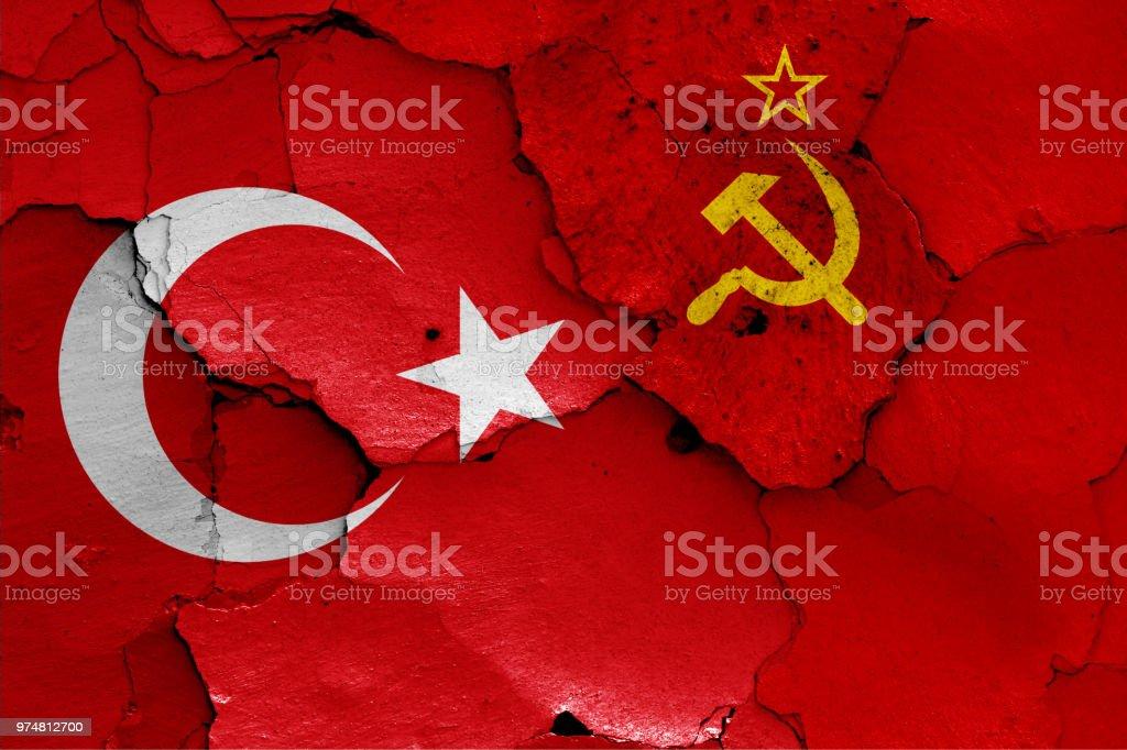 banderas de Turquía y la Unión Soviética - foto de stock