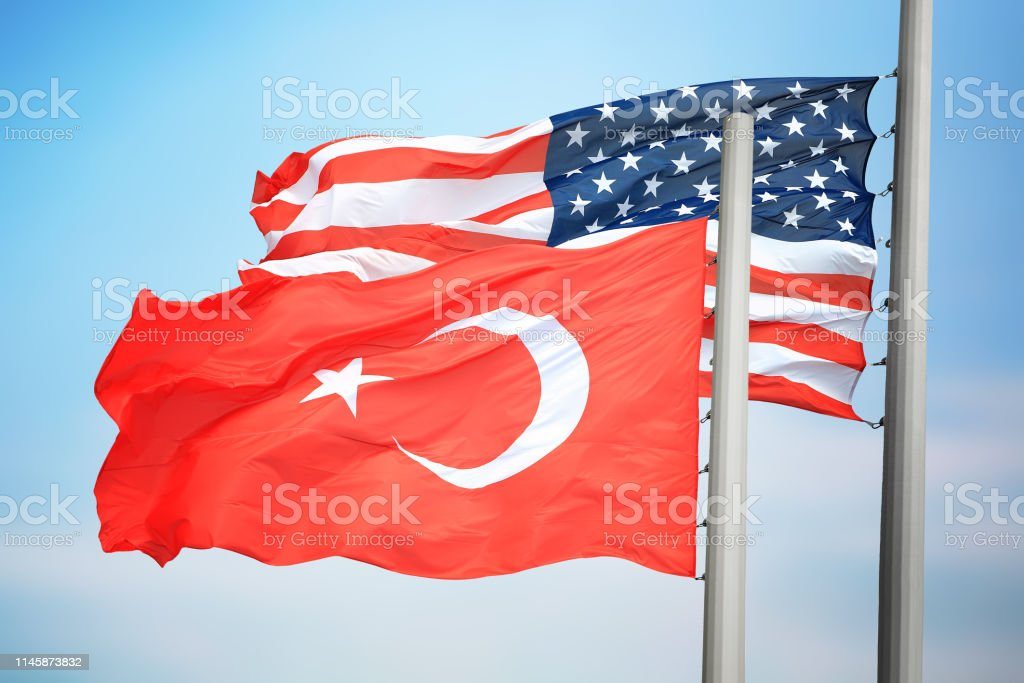 Flags of Turkey and the USA stock photo