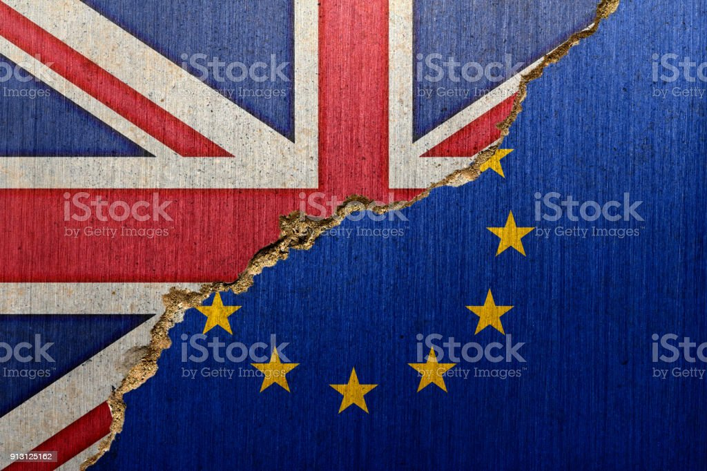 Flags of UK and EU on a Creacked Concrete stock photo