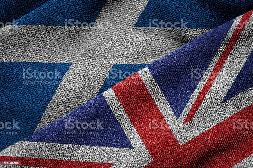 Flags of UK and Scotland on Grunge Texture stock photo