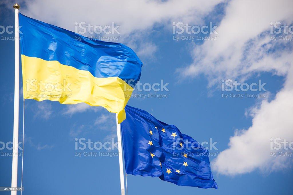 Flags of Ukraine and European Union (EU) stock photo