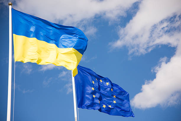 Flags of Ukraine and European Union (EU) stock photo