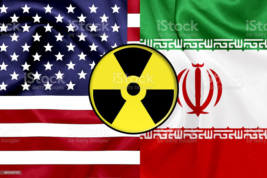 Flags of United States and Iran with Nuclear icon stock photo