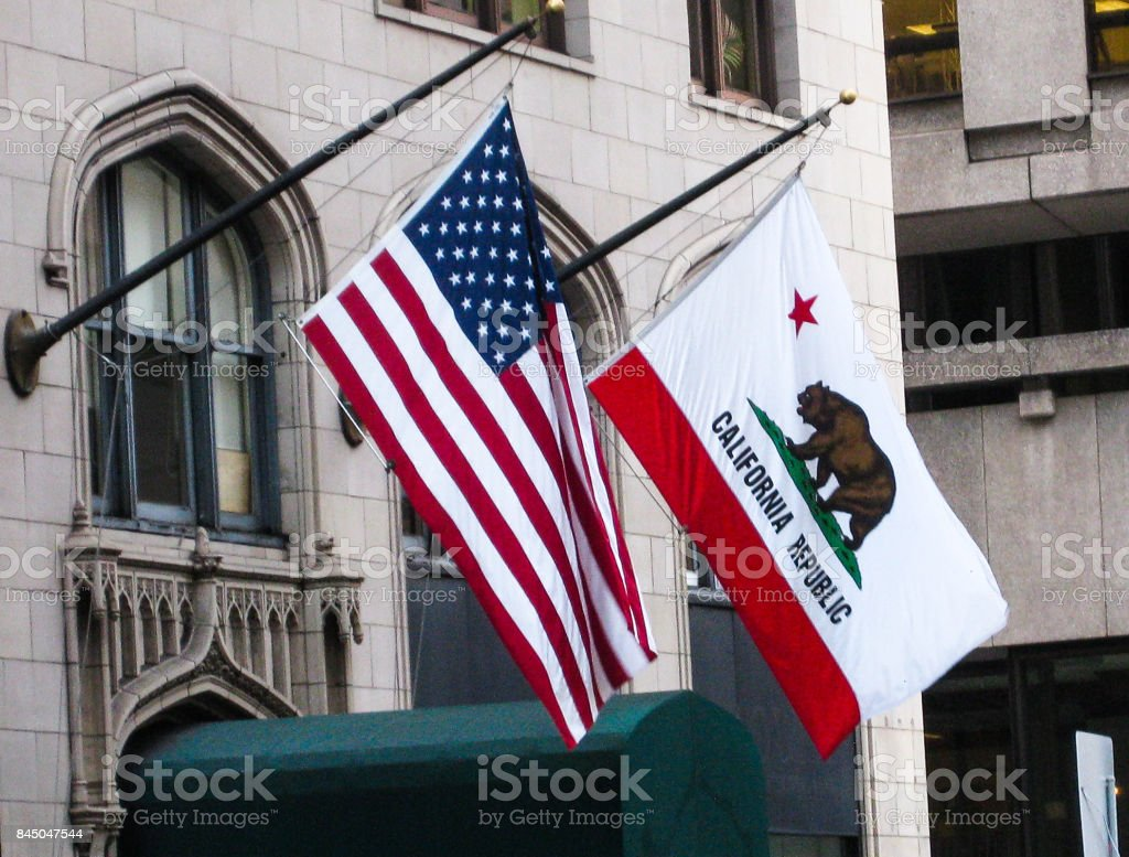 Flags of US and historical Califormia republic stock photo
