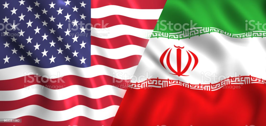 Flags of us and iran symbol of the sanction stock photo