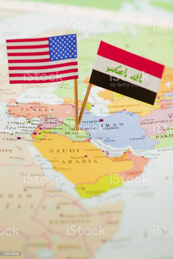 Flags Of Us And Iraq Over Middle East Map Stock Photo More