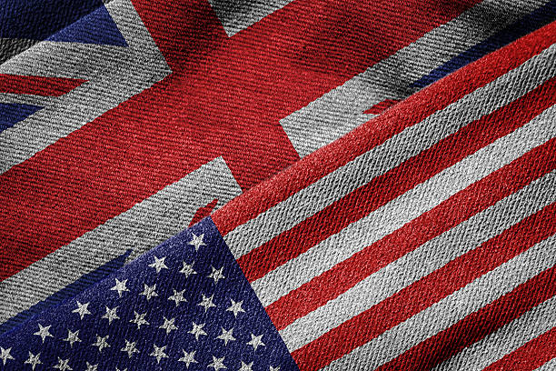 Flags of USA and Britain on Grunge Texture 3D rendering of the flags of USA and UK on woven fabric texture. Detailed textile pattern and grunge theme. foreign affairs stock pictures, royalty-free photos & images