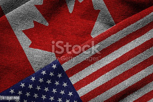 istock Flags of USA and Canada on Grunge Texture 515161856