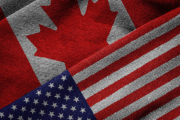 Flags of USA and Canada on Grunge Texture stock photo