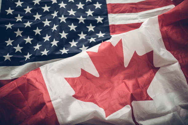 Flags of USA and Canada Flags of USA and Canada canada flag photos stock pictures, royalty-free photos & images