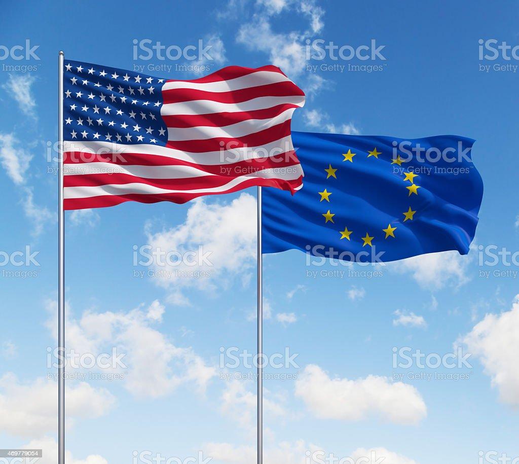 Banderas de Estados Unidos y la Unión Europea. - foto de stock