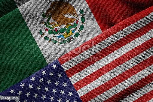 istock Flags of USA and Mexico on Grunge Texture 515319560