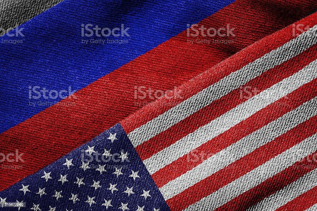 Bandeiras dos EUA e da Rússia na textura Grunge - foto de acervo