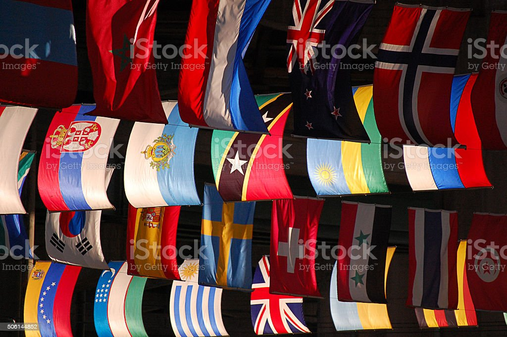 Flags of various countries stock photo