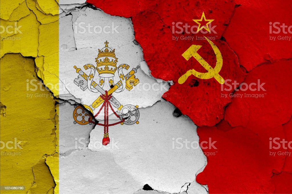 banderas del Vaticano y la Unión Soviética - foto de stock