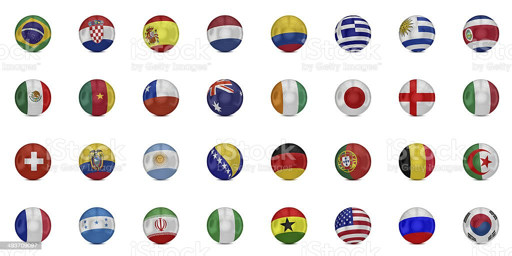 Flags of world on soccer balls stock photo