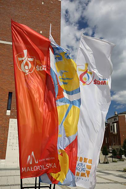 flags of world youth day 2016 - jugendweihe 2016 stock-fotos und bilder
