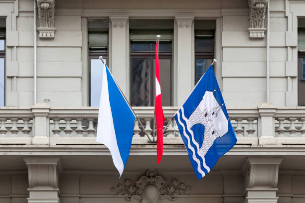 Flags of Zurich and Switzerland stock photo