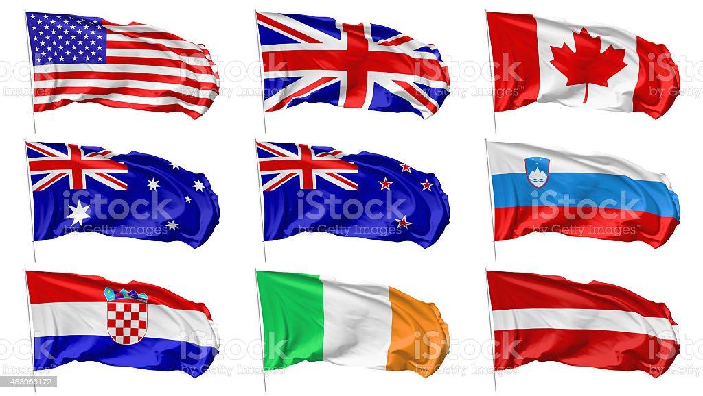 Flags on flagpole set stock photo