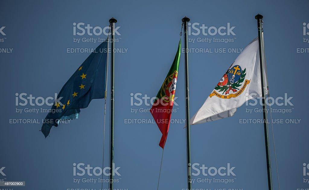 Flags on Santa Casa da Misericordia, Lisbon, Portugal