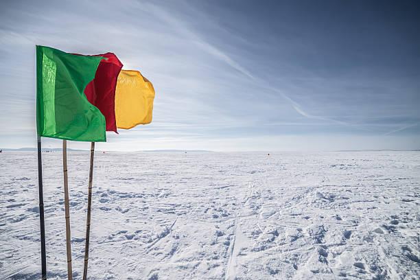 флаги на фоне зимнего небо - formula 1 стоковые фото и изображения