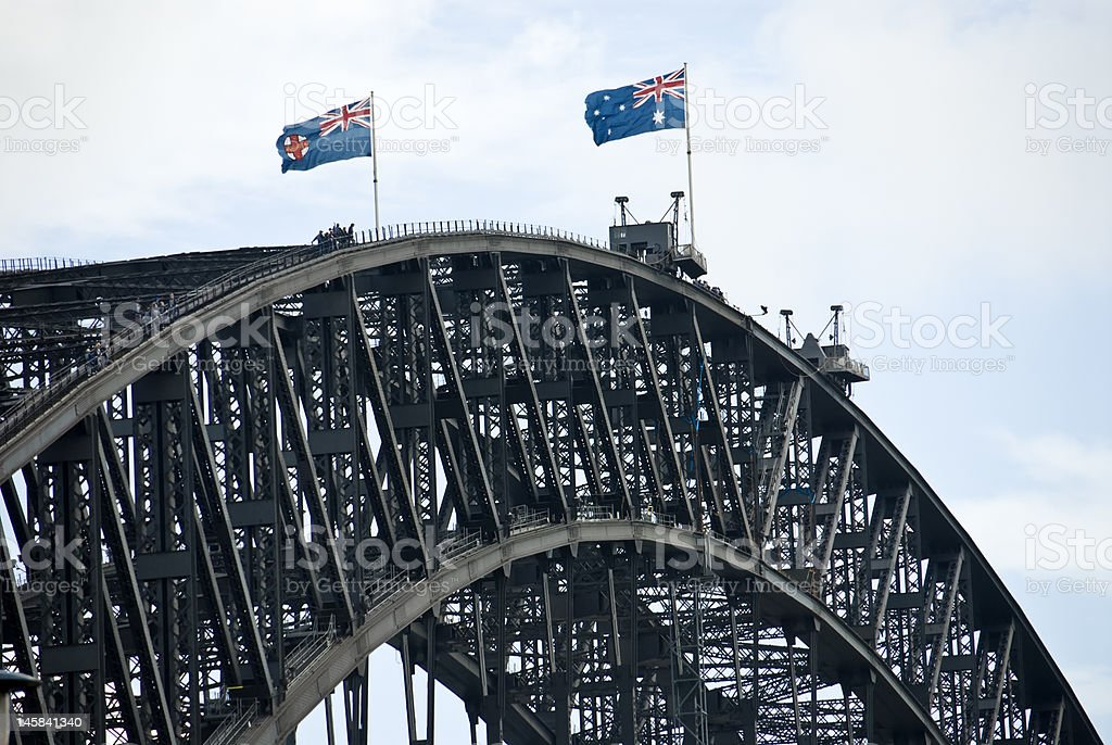 Flags on the Bridge royalty-free stock photo