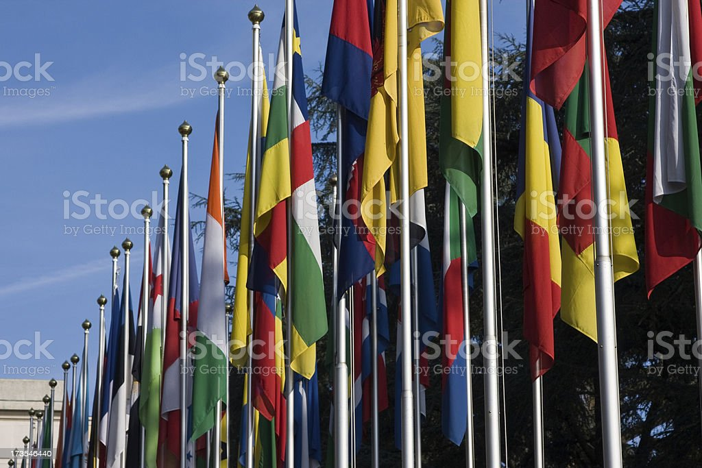 Flags on United Nations royalty-free stock photo