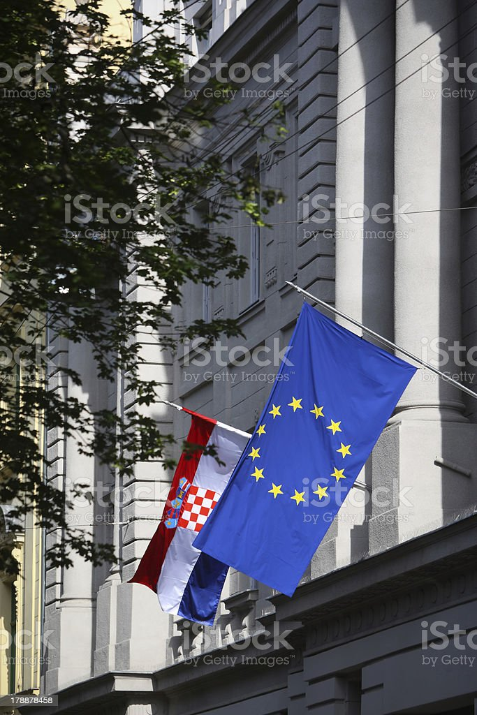 Flags on Zagreb streets buildings royalty-free stock photo