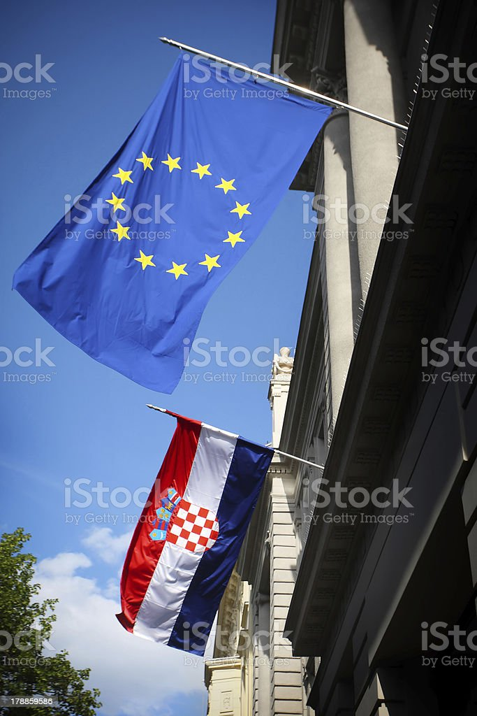Flags on Zagreb streets royalty-free stock photo