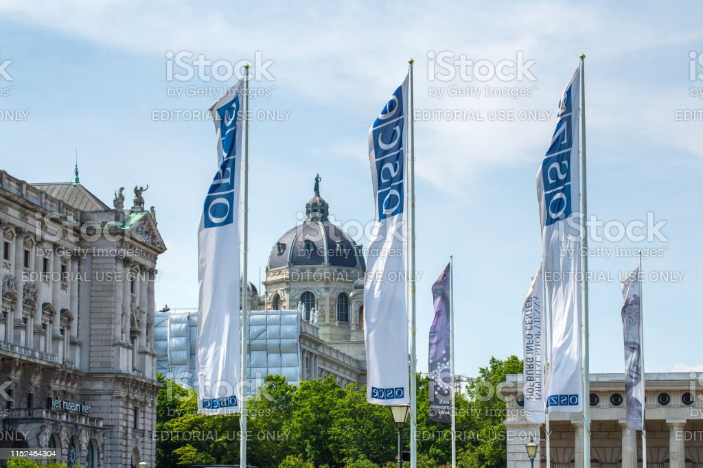 Flags OSCE near the building of Hofburg palace - OSCE Congress Centre in Vienna, Austria - Foto stock royalty-free di Ambientazione esterna