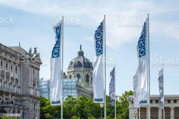 Flags Osce Near The Building Of Hofburg Palace Osce Congress Centre In Vienna Austria - Fotografie stock e altre immagini di Ambientazione esterna