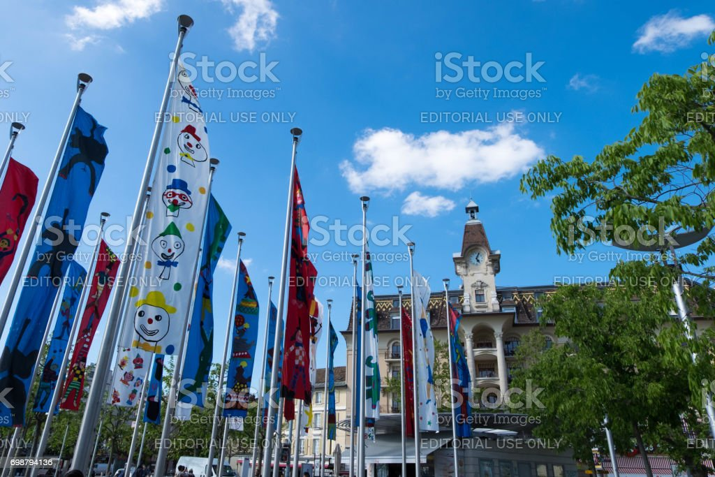 Flags painted by kids at Geneva lake in Promenade near kids zone. stock photo