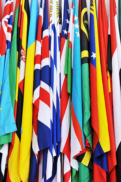 flags Rows of many countries flags together. global village stock pictures, royalty-free photos & images