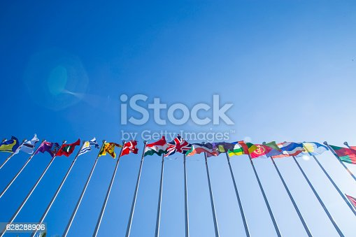 flags under the sky