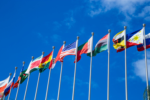 Group of flags of many different nations against blue sky and infront of a convention center.