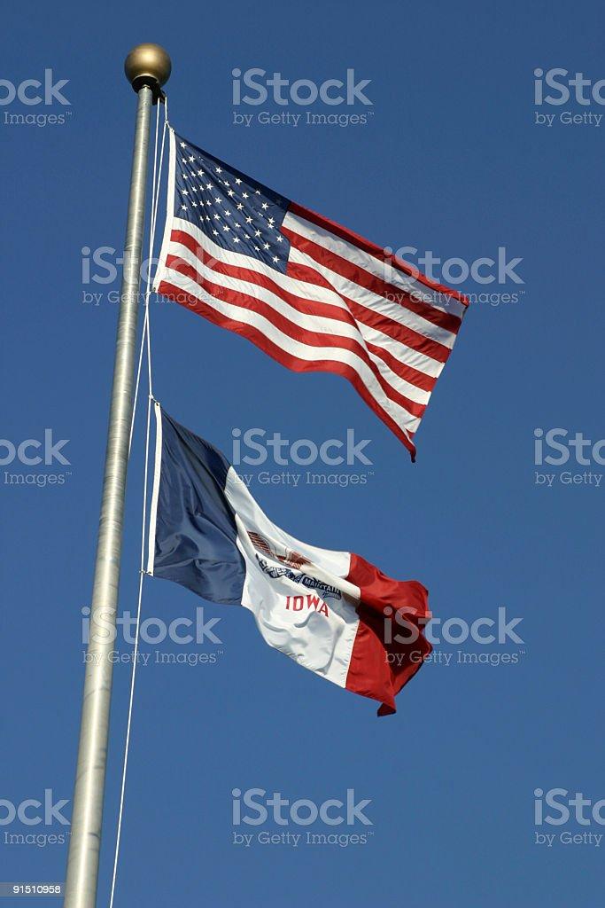 USA - IOWA Flags stock photo