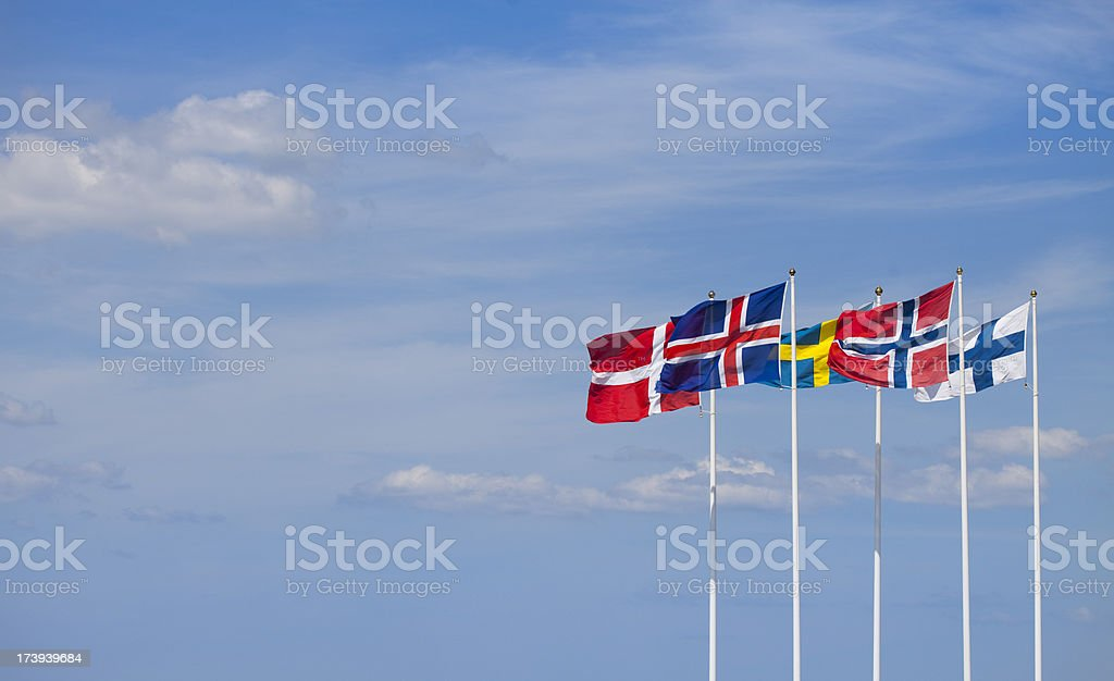 The flags of the Nordic Countries waving in the wind.