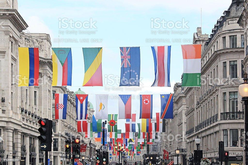 Flags Regent Street stock photo