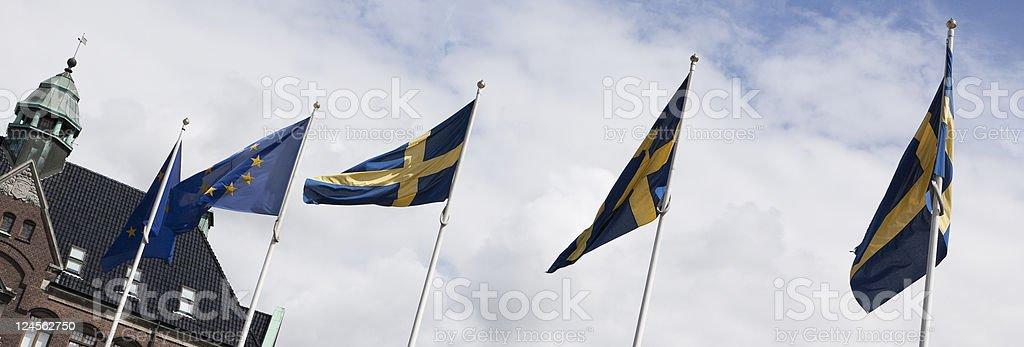 Flags - Sweden/European Union stock photo